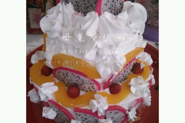 双层蛋糕奶油裱花