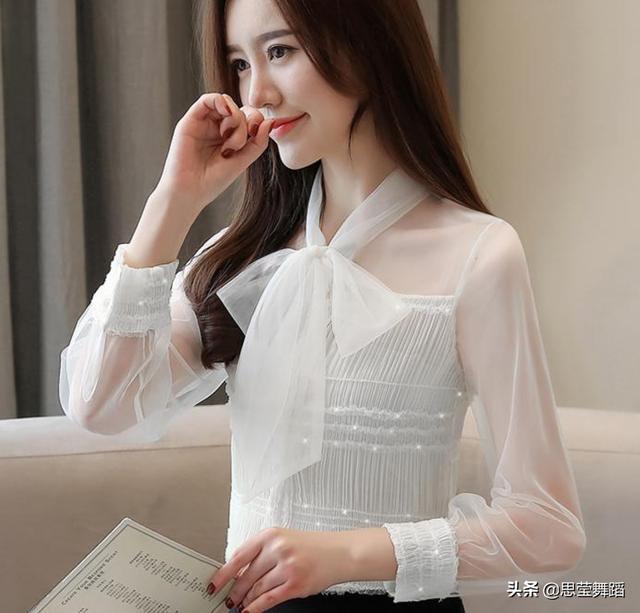 蝴蝶结系带领网纱很仙长袖雪纺衫优惠券