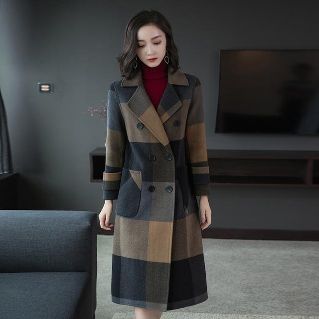 秋冬新款女装流行格子大衣毛呢冬装中长款韩版妮子呢子外套8101优惠券