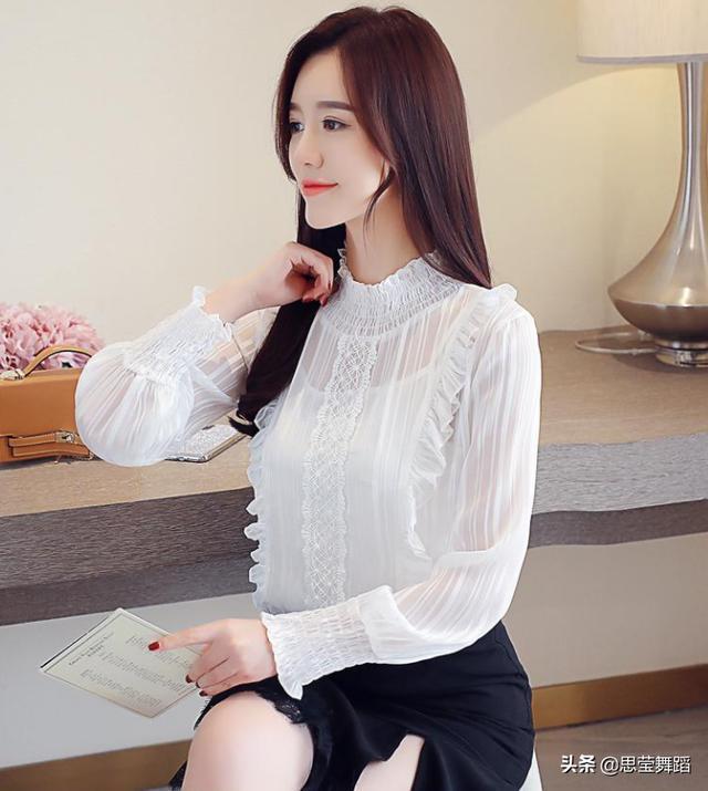 2019春装新款雪纺衫女白色长袖打底衫优惠券