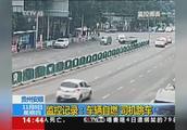 贵州安顺 监控记录:车辆自燃 司机跳车