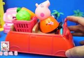 猪妈妈买了一篮子的蔬菜用车子运回家去