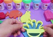 快来玩橡皮泥了 做彩色小动物 小鱼小鸟小兔子还有冰激凌
