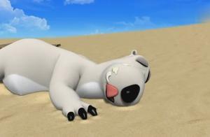 倒霉熊:沙滩上睡觉的小熊舔了下脸上的东西,睁眼一看竟是鸟屎
