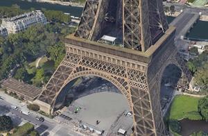 谷歌地球俯瞰埃菲尔铁塔,体验不一样的视觉