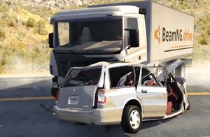 BeamNG:越野车开足马力超车冲向斯堪尼亚大货车,拟真车祸模拟