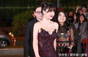 柳岩身材发福魅力不减, 紫色长裙太惊艳了, 一般人驾驭不住!