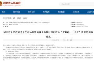河北省所有行政检查均通过双随机抽查方式进行