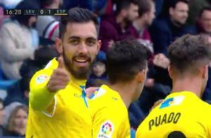 第1脚射门就进球!西班牙人一哥轰下西甲第13球,武磊替补席观战