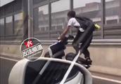 视频热传!男子在万家丽高架骑摩托炫车技,交警介入调查