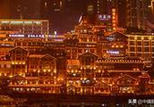江游11层重庆洪崖洞,五颜六色的灯光,惊艳了四面八方的游客