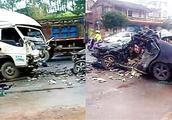 广西玉林发生重大交通事故 轿车与货车相撞致2死3伤