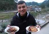 2盘烧白,农村爷孙吃出了过年的味道,太喜欢这味道了
