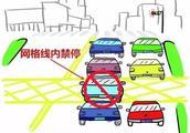注意!黄色网格线内任何时间都不能停车