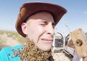 男子作死将蜜蜂放在身上,刚跑出去,下一秒就后悔了!