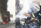 货车自燃10吨水饺被烤糊 司机心疼坏了