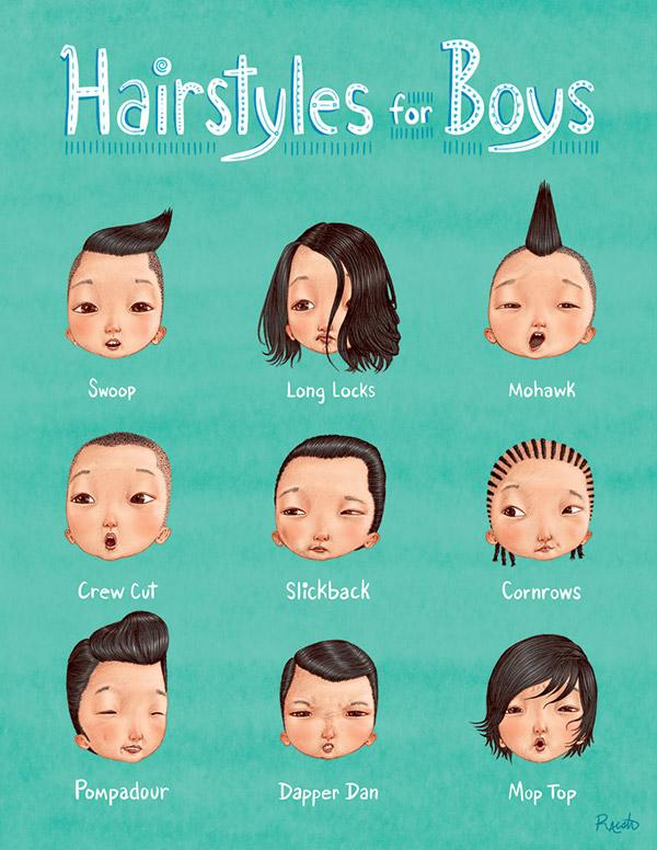 插画|Hairstyles for Boys