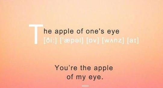 You are the apple of my eye,表白用这句,成功一大半!