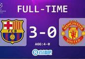 欧冠-梅西两球库鸟世界波 巴萨3-0胜曼联总比分4-0晋级四强